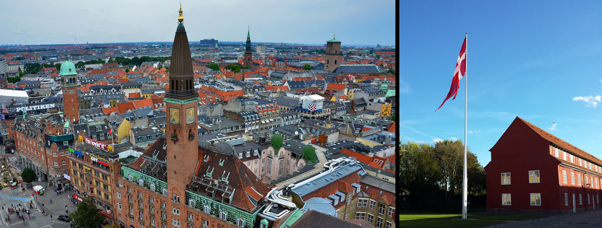 CPH aerial view and flag